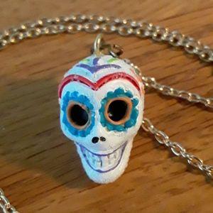 NWOT Fab Dia de los Muertos Sugar Skull Necklace